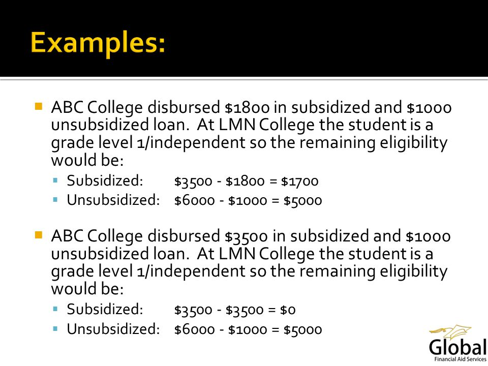 ABC College disbursed $1800 in subsidized and $1000 unsubsidized loan.
