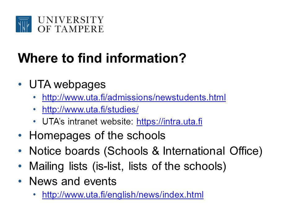 Where to find information.