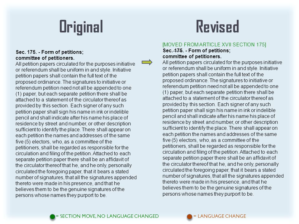 OriginalRevised = SECTION MOVE, NO LANGUAGE CHANGED = LANGUAGE CHANGE [MOVED FROM ARTICLE XVII SECTION 175] Sec.