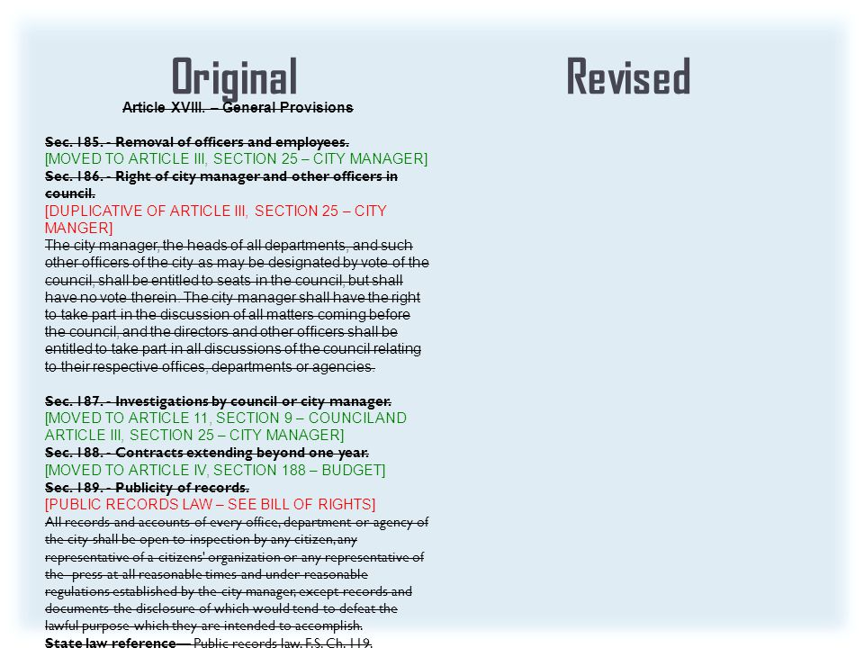 OriginalRevised Article XVIII. – General Provisions Sec.