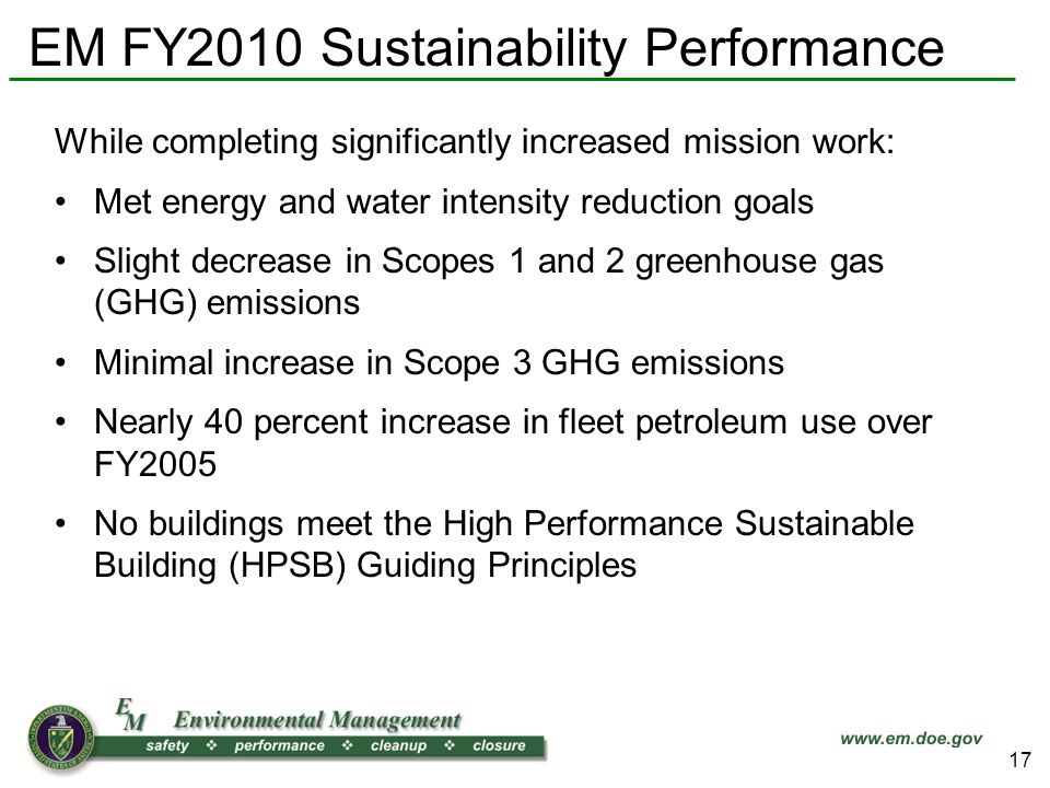EM FY2010 Sustainability Performance While completing significantly increased mission work: Met energy and water intensity reduction goals Slight decrease in Scopes 1 and 2 greenhouse gas (GHG) emissions Minimal increase in Scope 3 GHG emissions Nearly 40 percent increase in fleet petroleum use over FY2005 No buildings meet the High Performance Sustainable Building (HPSB) Guiding Principles 17