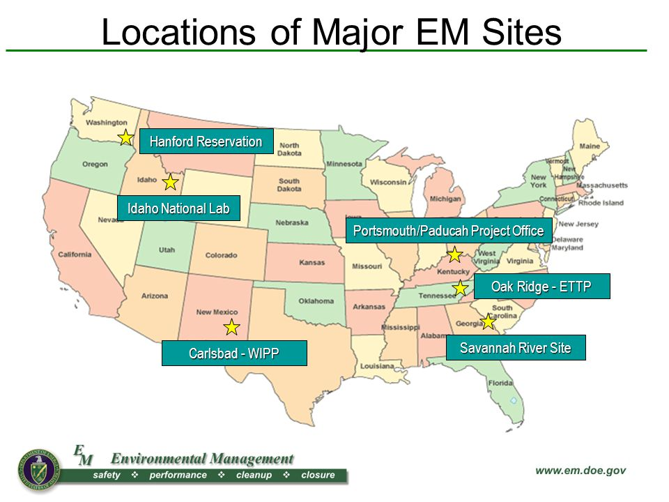 Locations of Major EM Sites Hanford Reservation Idaho National Lab Carlsbad - WIPP Savannah River Site Portsmouth/Paducah Project Office Oak Ridge - ETTP