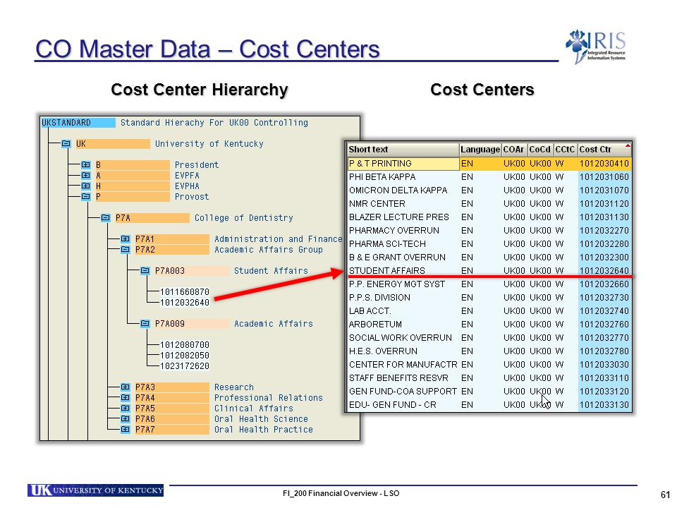 FI_200 Financial Overview - LSO 61 CO Master Data – Cost Centers Cost Centers Cost Center Hierarchy