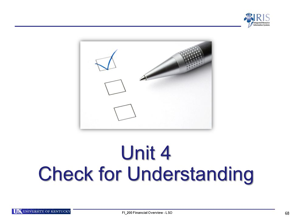Unit 4 Check for Understanding 68 FI_200 Financial Overview - LSO
