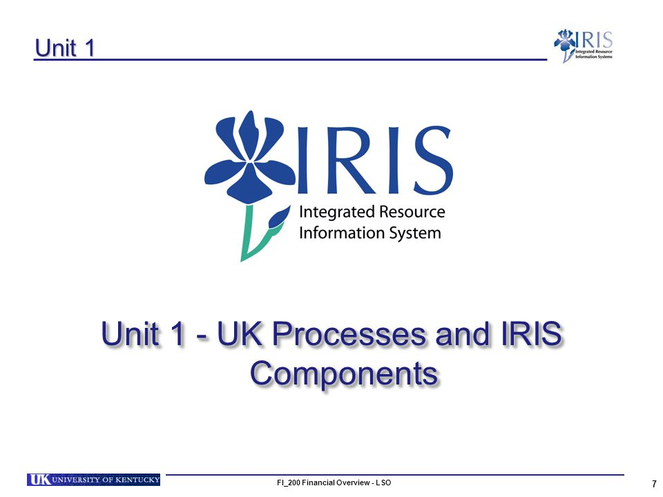 FI_200 Financial Overview - LSO 7 Unit 1 Unit 1 - UK Processes and IRIS Components