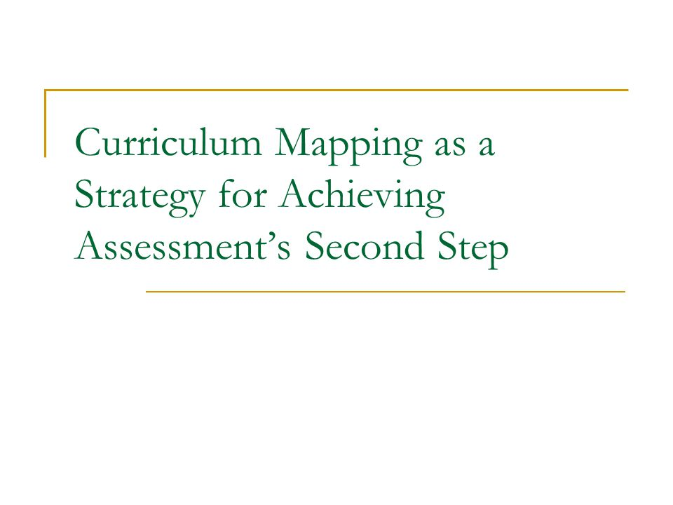 Curriculum Mapping as a Strategy for Achieving Assessments Second Step