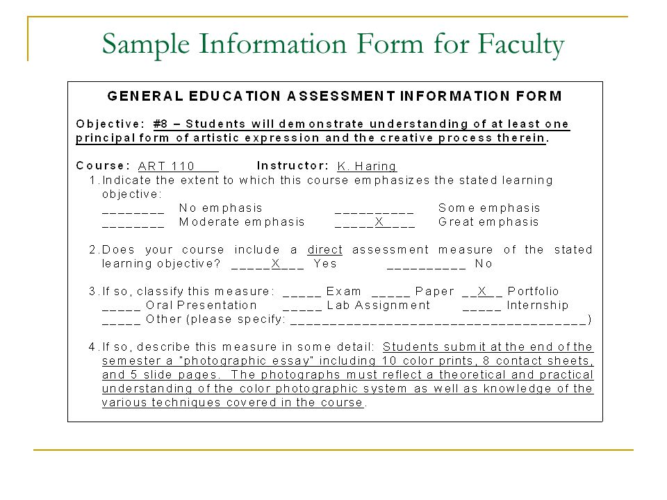 Sample Information Form for Faculty