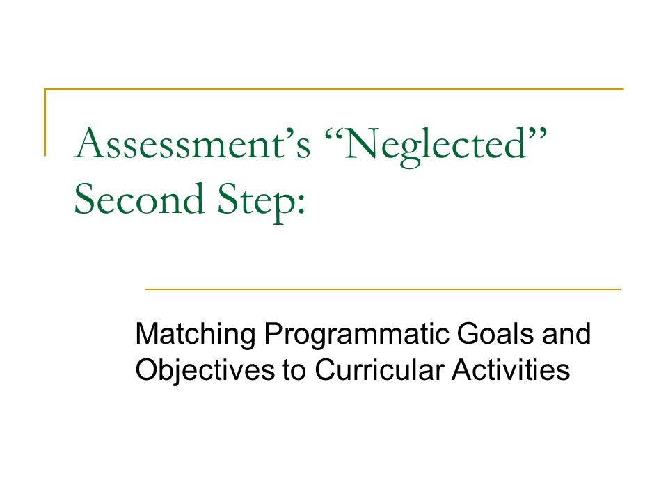Assessments Neglected Second Step: Matching Programmatic Goals and Objectives to Curricular Activities