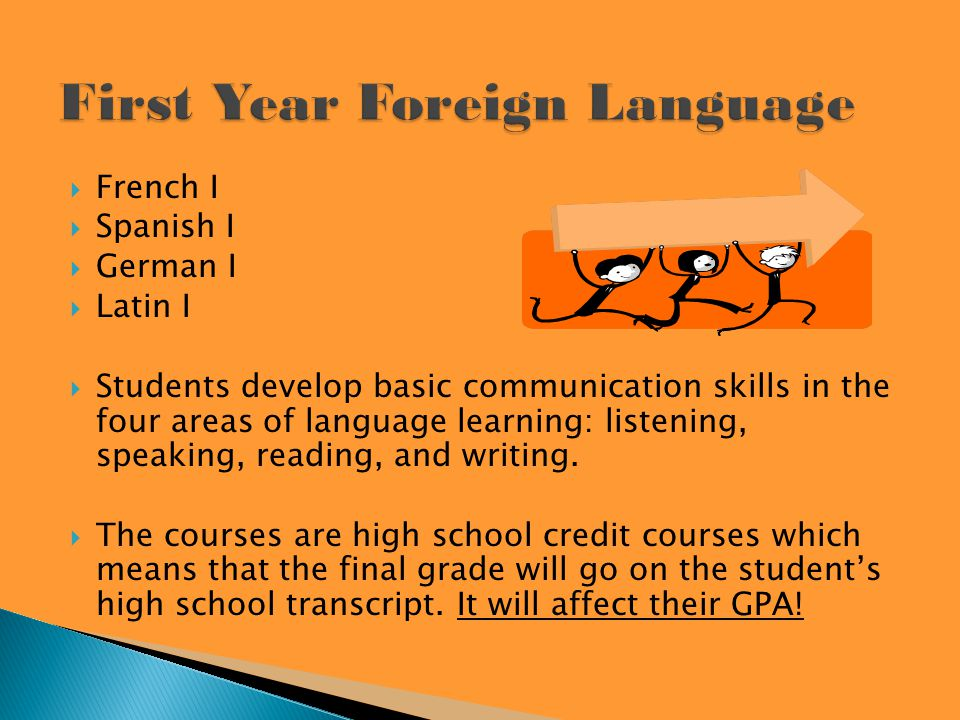 French I Spanish I German I Latin I Students develop basic communication skills in the four areas of language learning: listening, speaking, reading, and writing.