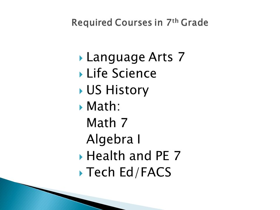 Required Courses in 7 th Grade Language Arts 7 Life Science US History Math: Math 7 Algebra I Health and PE 7 Tech Ed/FACS