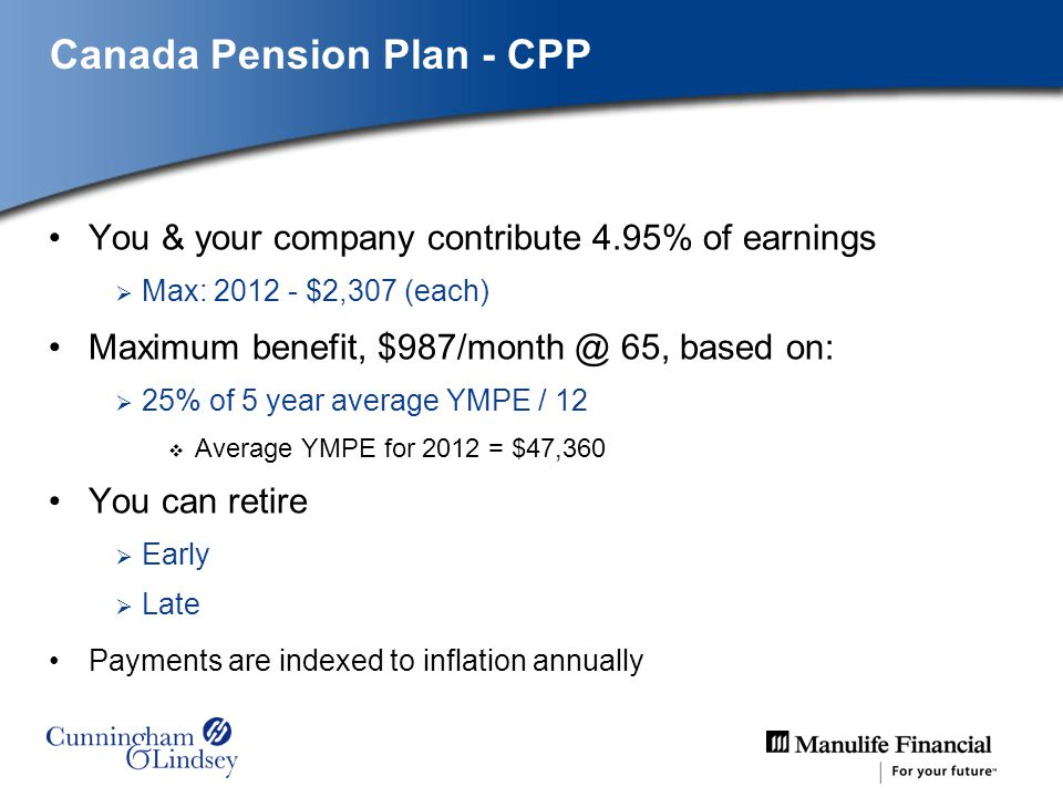Canada Pension Plan - CPP You & your company contribute 4.95% of earnings Max: 2012 - $2,307 (each) Maximum benefit, $987/month @ 65, based on: 25% of 5 year average YMPE / 12 Average YMPE for 2012 = $47,360 You can retire Early Late Payments are indexed to inflation annually
