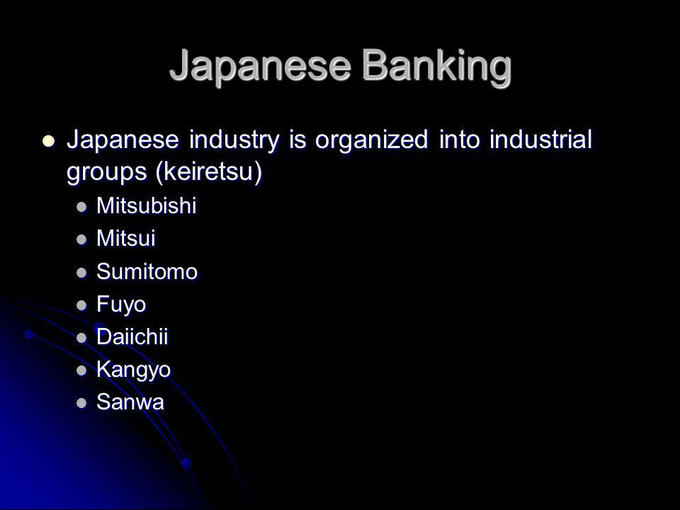 Japanese Banking Japanese industry is organized into industrial groups (keiretsu) Japanese industry is organized into industrial groups (keiretsu) Mitsubishi Mitsubishi Mitsui Mitsui Sumitomo Sumitomo Fuyo Fuyo Daiichii Daiichii Kangyo Kangyo Sanwa Sanwa