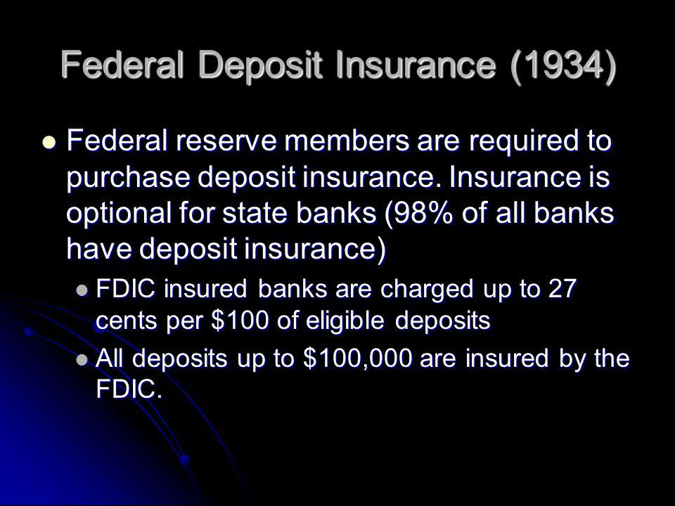Federal Deposit Insurance (1934) Federal reserve members are required to purchase deposit insurance.