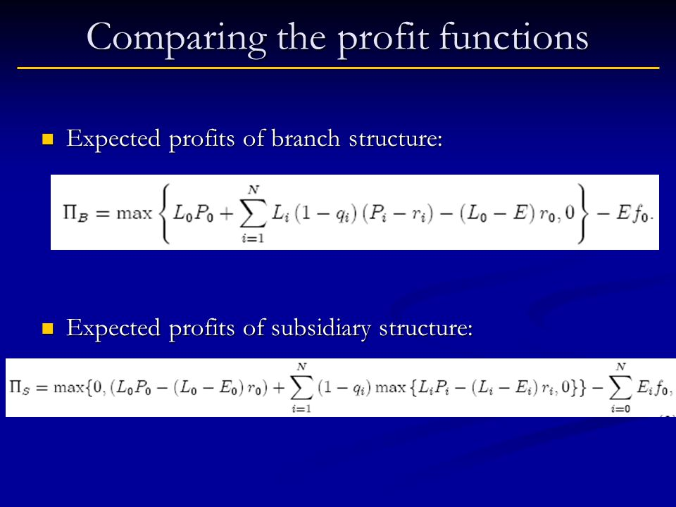 Comparing the profit functions Expected profits of branch structure: Expected profits of branch structure: Expected profits of subsidiary structure: Expected profits of subsidiary structure: