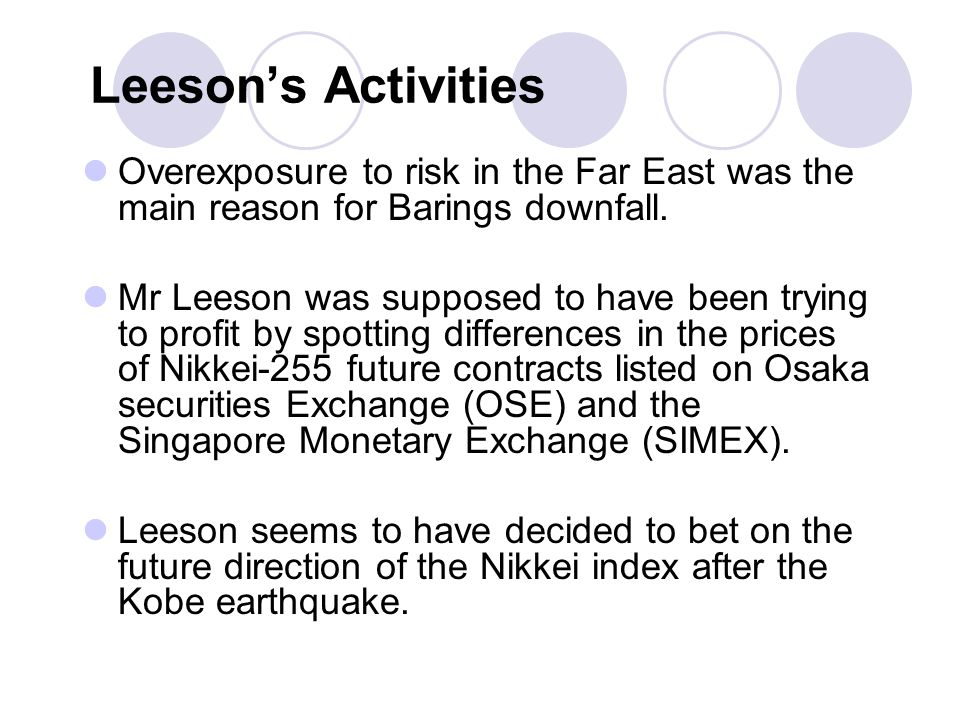 Leesons Activities Overexposure to risk in the Far East was the main reason for Barings downfall.