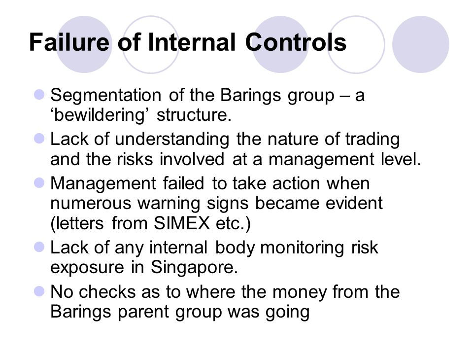 Failure of Internal Controls Segmentation of the Barings group – a bewildering structure.
