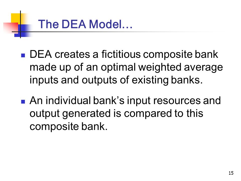 15 The DEA Model… DEA creates a fictitious composite bank made up of an optimal weighted average inputs and outputs of existing banks.