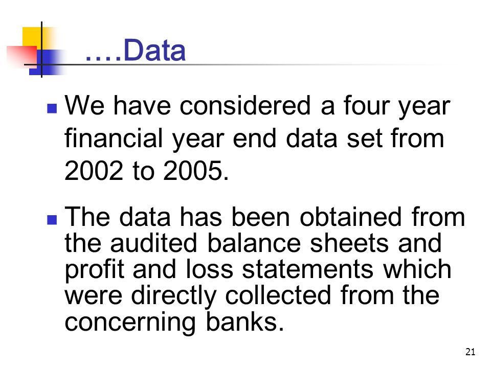 21 ….Data We have considered a four year financial year end data set from 2002 to 2005.