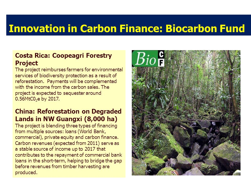 Innovation in Carbon Finance: Biocarbon Fund Costa Rica: Coopeagri Forestry Project The project reimburses farmers for environmental services of biodiversity protection as a result of reforestation.