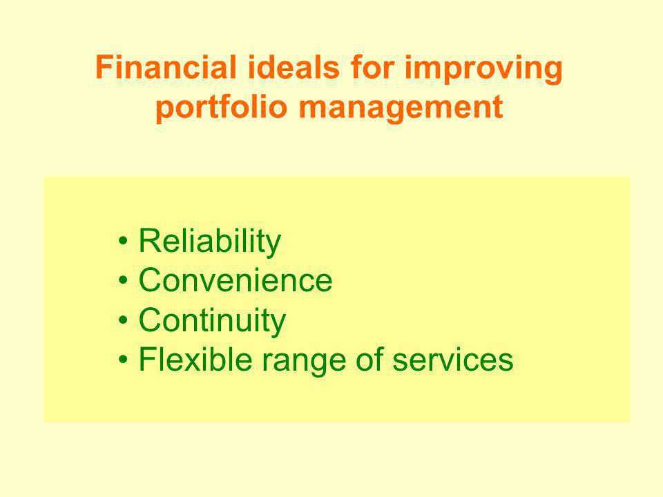 Reliability Convenience Continuity Flexible range of services Financial ideals for improving portfolio management