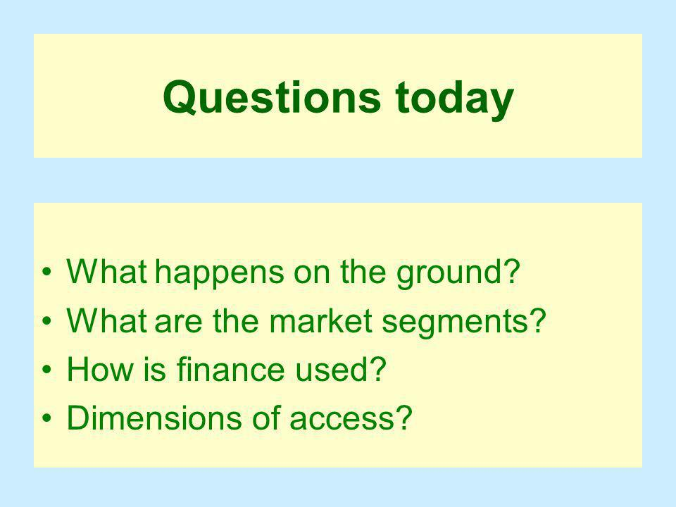 Questions today What happens on the ground. What are the market segments.