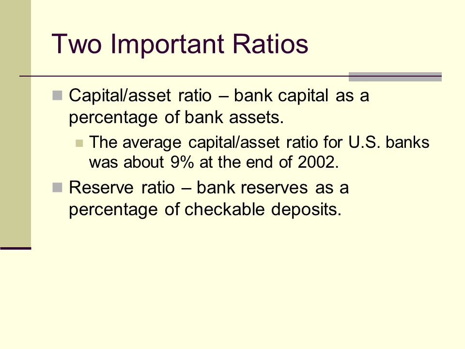 Two Important Ratios Capital/asset ratio – bank capital as a percentage of bank assets.