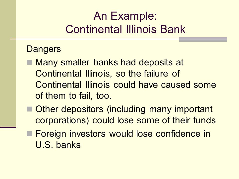 An Example: Continental Illinois Bank Dangers Many smaller banks had deposits at Continental Illinois, so the failure of Continental Illinois could have caused some of them to fail, too.