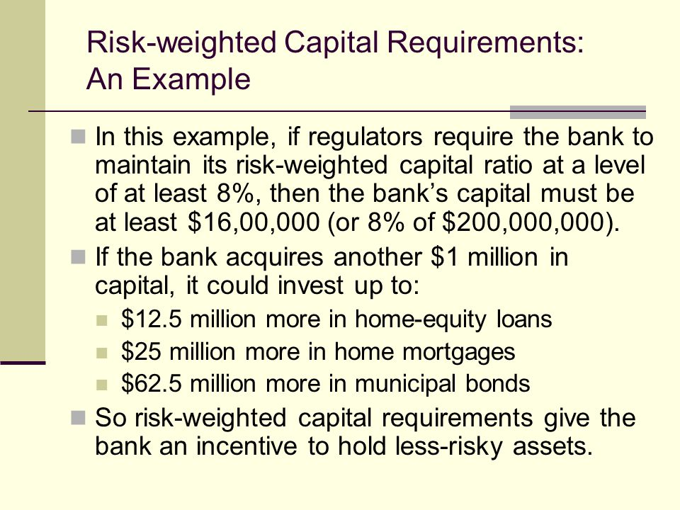 In this example, if regulators require the bank to maintain its risk-weighted capital ratio at a level of at least 8%, then the banks capital must be at least $16,00,000 (or 8% of $200,000,000).
