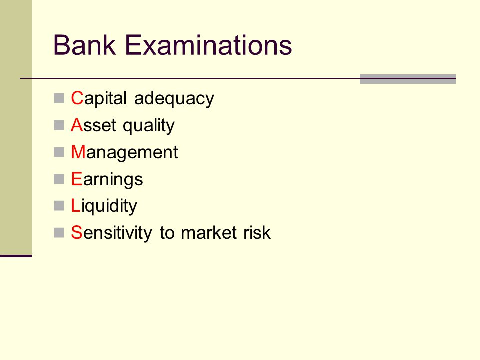 Bank Examinations Capital adequacy Asset quality Management Earnings Liquidity Sensitivity to market risk