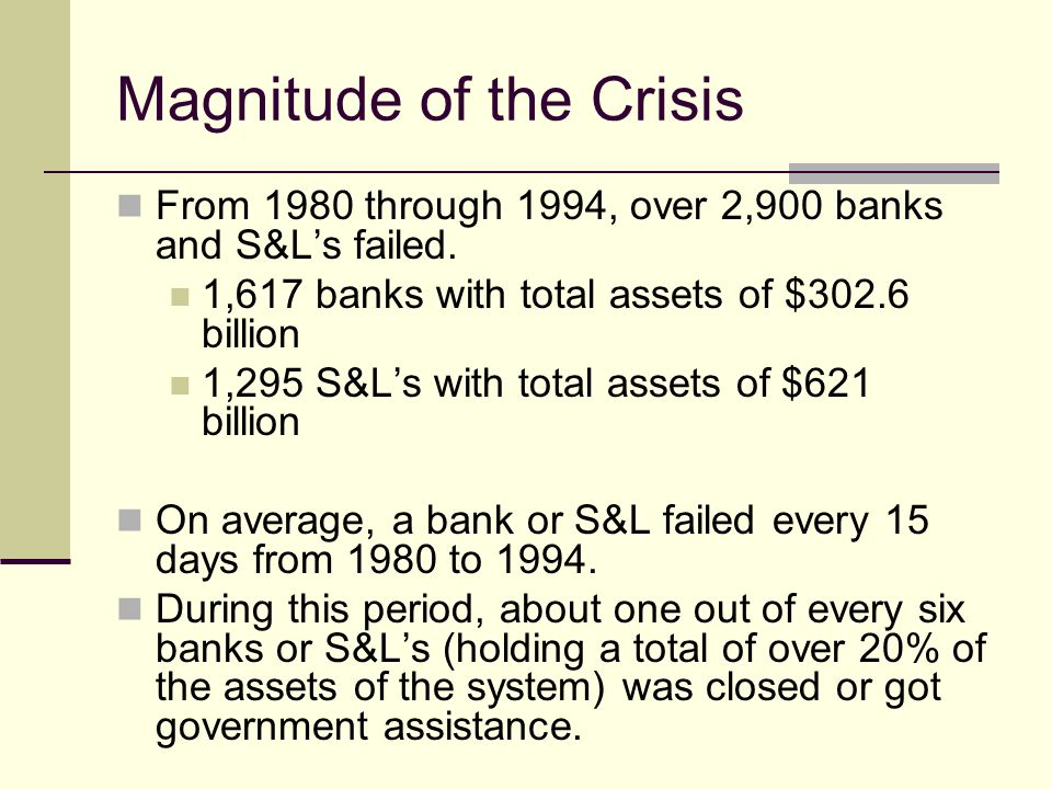 Magnitude of the Crisis From 1980 through 1994, over 2,900 banks and S&Ls failed.