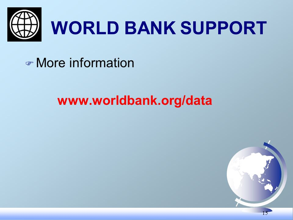 15 WORLD BANK SUPPORT F More information www.worldbank.org/data