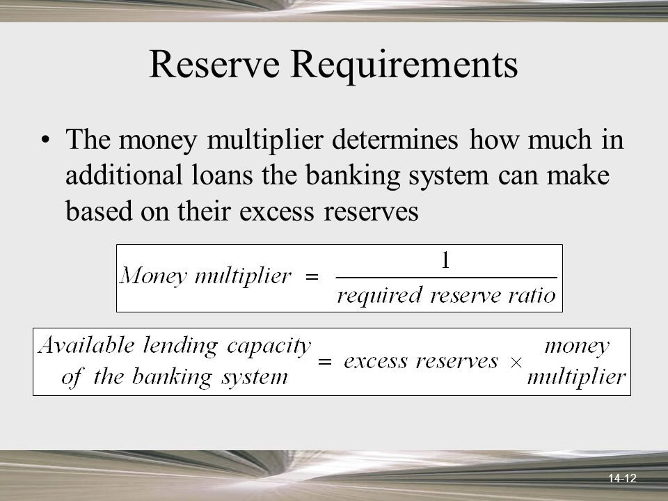 14-12 Reserve Requirements The money multiplier determines how much in additional loans the banking system can make based on their excess reserves
