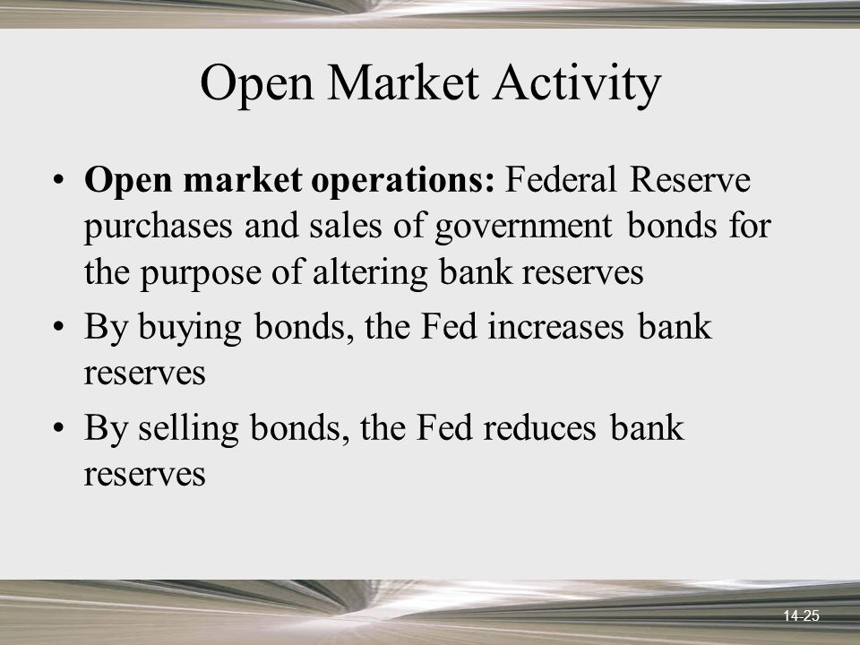 14-25 Open Market Activity Open market operations: Federal Reserve purchases and sales of government bonds for the purpose of altering bank reserves By buying bonds, the Fed increases bank reserves By selling bonds, the Fed reduces bank reserves