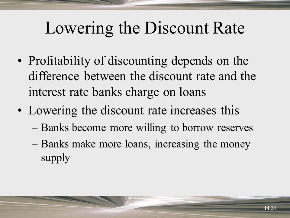14-31 Lowering the Discount Rate Profitability of discounting depends on the difference between the discount rate and the interest rate banks charge on loans Lowering the discount rate increases this –Banks become more willing to borrow reserves –Banks make more loans, increasing the money supply