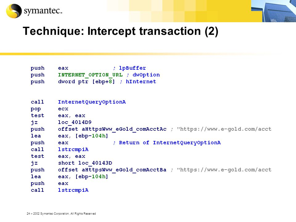 24 – 2002 Symantec Corporation, All Rights Reserved Technique: Intercept transaction (2)