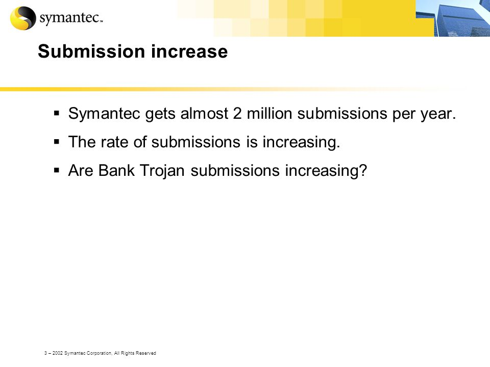 3 – 2002 Symantec Corporation, All Rights Reserved Submission increase Symantec gets almost 2 million submissions per year.