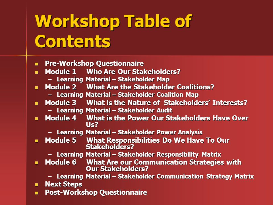 Workshop Table of Contents Pre-Workshop Questionnaire Pre-Workshop Questionnaire Module 1 Who Are Our Stakeholders.