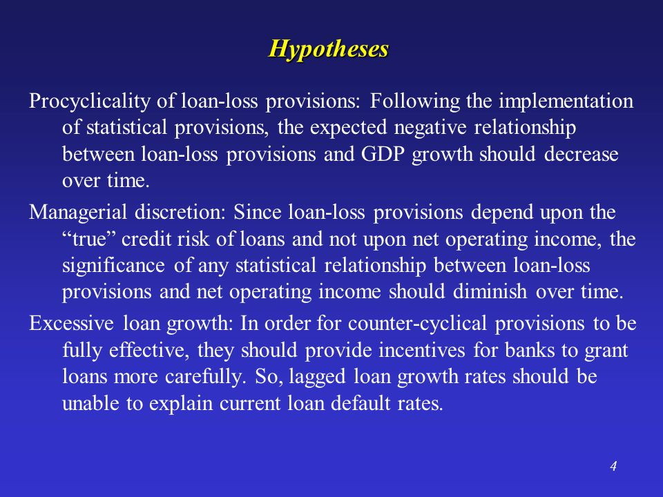 4Hypotheses Procyclicality of loan-loss provisions: Following the implementation of statistical provisions, the expected negative relationship between loan-loss provisions and GDP growth should decrease over time.