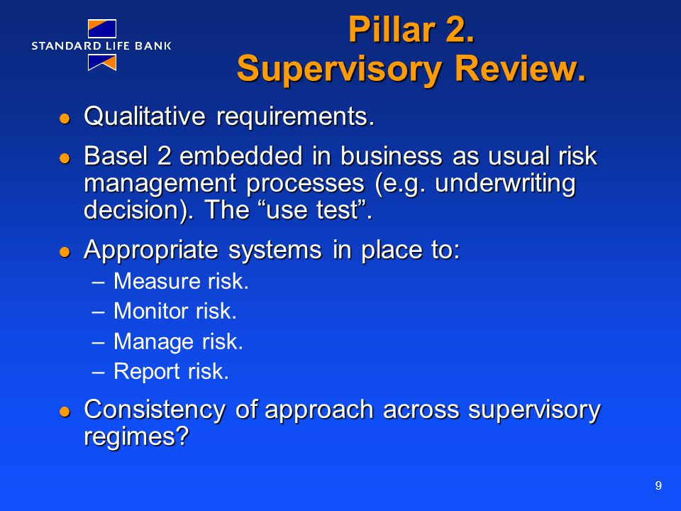 9 Pillar 2. Supervisory Review. Qualitative requirements.