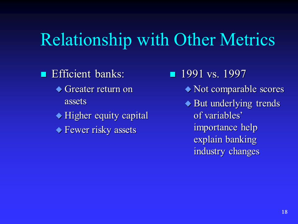 18 Relationship with Other Metrics n Efficient banks: u Greater return on assets u Higher equity capital u Fewer risky assets n 1991 vs.