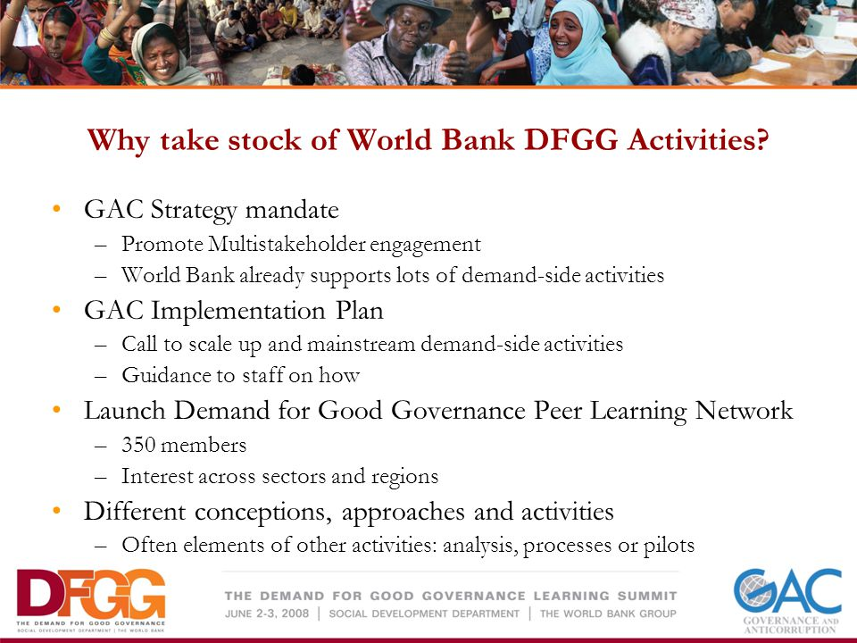 Why take stock of World Bank DFGG Activities.