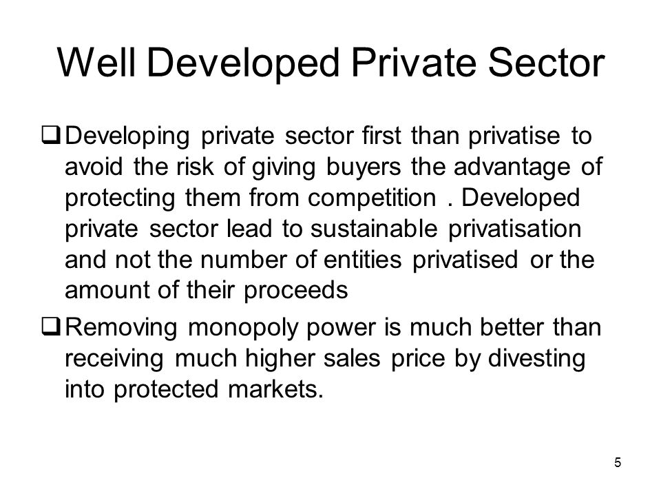 5 Well Developed Private Sector Developing private sector first than privatise to avoid the risk of giving buyers the advantage of protecting them from competition.