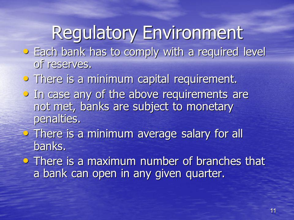 11 Each bank has to comply with a required level of reserves.