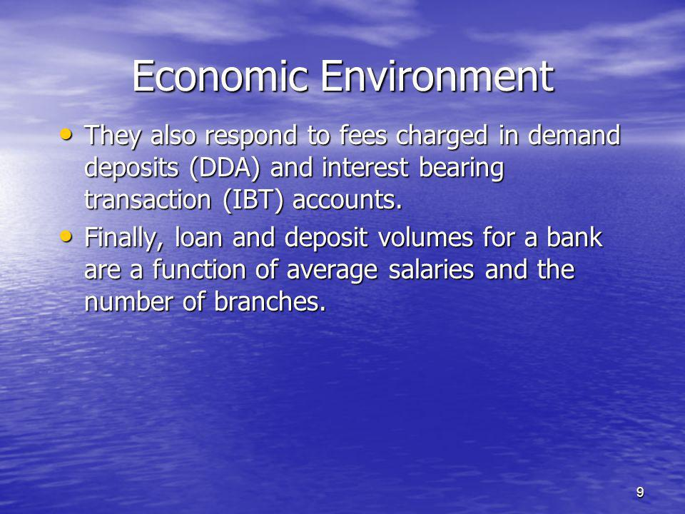 9 They also respond to fees charged in demand deposits (DDA) and interest bearing transaction (IBT) accounts.