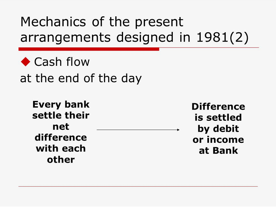 Mechanics of the present arrangements designed in 1981(2) Cash flow at the end of the day Every bank settle their net difference with each other Difference is settled by debit or income at Bank