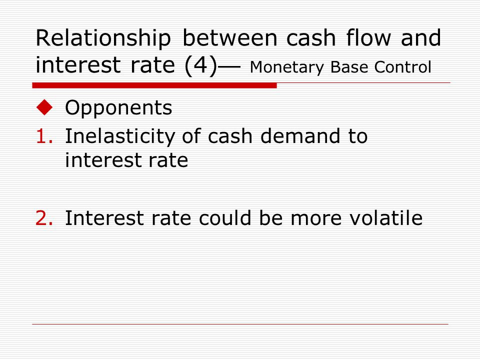 Relationship between cash flow and interest rate (4) Monetary Base Control Opponents 1.Inelasticity of cash demand to interest rate 2.Interest rate could be more volatile