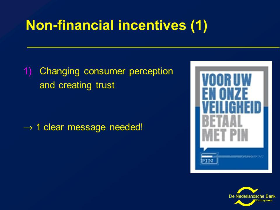 De Nederlandsche Bank Eurosysteem Non-financial incentives (1) 1)Changing consumer perception and creating trust 1 clear message needed!
