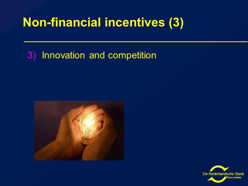 De Nederlandsche Bank Eurosysteem Non-financial incentives (3) 3)Innovation and competition