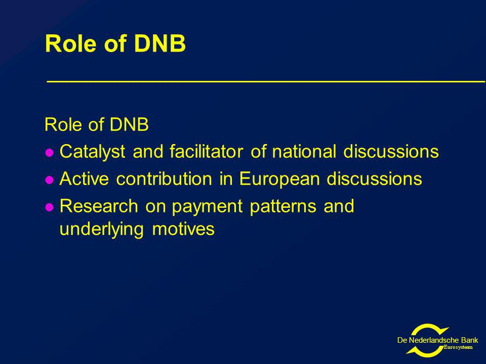 De Nederlandsche Bank Eurosysteem Role of DNB Catalyst and facilitator of national discussions Active contribution in European discussions Research on payment patterns and underlying motives